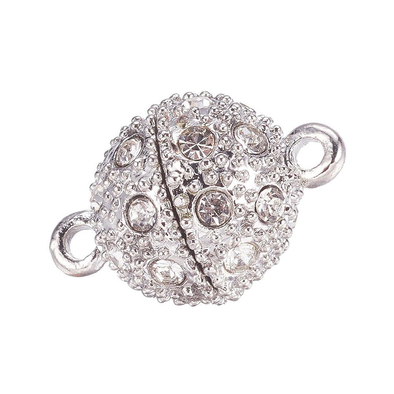 NBEADS 20 Sets Crystal Shamballa Style Bling Rhinestone Magnetic Beads Clasp for Bracelet Necklace Jewelry, Round, Platinum, 19x12mm, Hole: 2mm