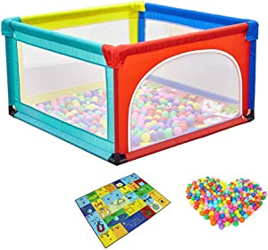 YEHL Playpen Baby with Balls  4-Panel Play Yard  Child Game Fence Security Fence Toddler Crawling Mat  68cm Tall  Size 120X95X68cm