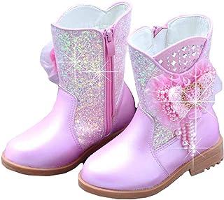 LOBTY Filles Ballerine Princesse Chaussures à Talons Hauts Bottes Bottes de Vacances de noël Mariage Hiver fête pour Enfan...