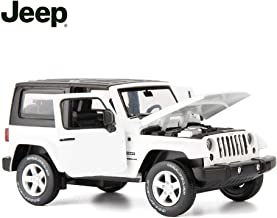 TGRCM-CZ Diecast Model Cars Toy Cars, Jeep Wrangler 1:32 Scale Alloy Pull Back Toy Car with Sound and Light Toy for Girls and Boys Kids Toys (White)