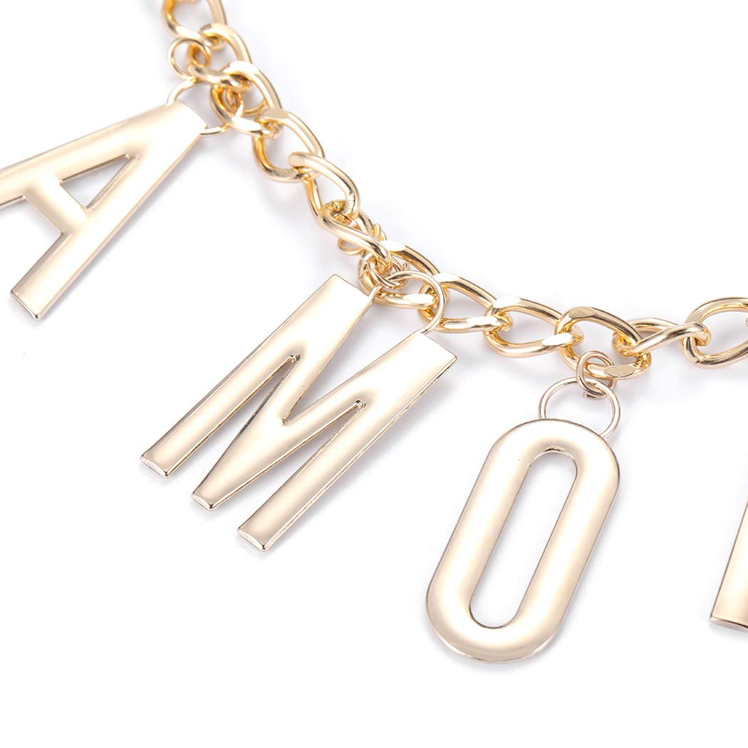 Nicute Layered Body Chain Letters Belly Waist Chains Gold Fashion Beach Body Jewelry for Women and Girls
