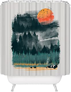Fuzzy Ink Wilderness Print Shower Curtain Inspirational Outdoor Camping Hiking Forest Nature Lover Sunset Bears Waterproof Mildew Resistant Fabric Bathroom Decor