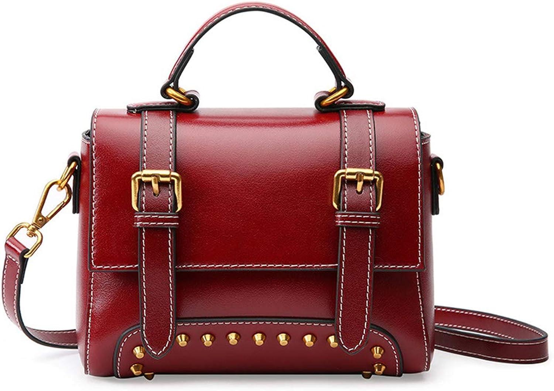 bebd823df42dc MAGAI MAGAI MAGAI Echtes Leder Vintage Rivet Bag Frauen Top Griff Satchel  Handtasche Tote Umh auml ngetasche Handtasche Crossbody Tasche (Farbe Wine  rot) ...