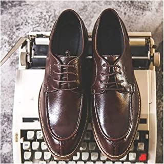 Leather Business Oxfords for Men Casual Shoes Lace up Microfiber Leather Stitch Anti-slip Low Heel Wood-like Heel shoes (Color : Brown, Size : 38 EU)