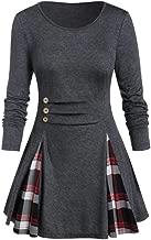 Women Buttoned Plaid Print Long Sleeve T Shirt Plus Size Tops Tunic Tee