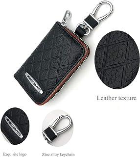 YIKA New Car Key Chain Bag Genuine Leather AMG Car Smart Keychain Keyring Wallet Zipper Case Auto Remote Key Fob for Mercedes Benz Car Key