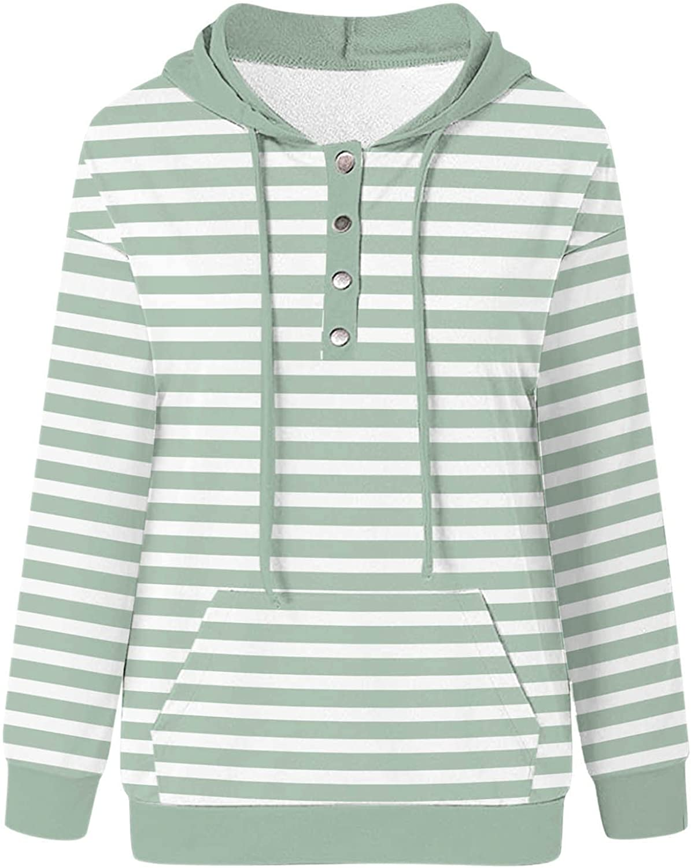Xinantime Women's Striped Print Sweatshirts Hooded Long Sleeve Plus Size Shirt Ladies Button Down V-Neck Tunics