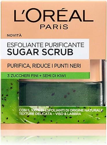L'Oréal Paris Scrub Viso e Labbra Sugar Scrub, Esfoliante Purificante con Cristalli Fini di Zucchero e Semi di Kiwi, ...