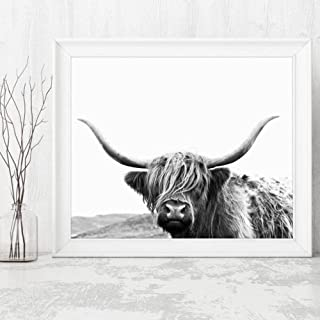 Poster Highland Cow Canvas Art Print and Poster, Farm Animal Highland Bull Photography Canvas Painting Picture Modern Wall...