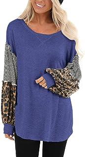 TIFIY Donna Moda Magliette Top Casual a Righe con Impunture Manica Lunga Stampa Leopardo Patchwork Pullover Allentata Cami...