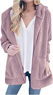 Women Solid Sweater Coat, Ladies Long Sleeve Autumn And Winter Plush Hooded Fashion Cardigan Outwear