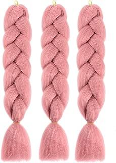 Braiding Hair Ombre Kanekalon Jumbo Braids Synthetic Braiding Hair 3Pcs/Lot Hair Extension for Twist Braiding Hair(24 inch 3 Pieces,Pink)