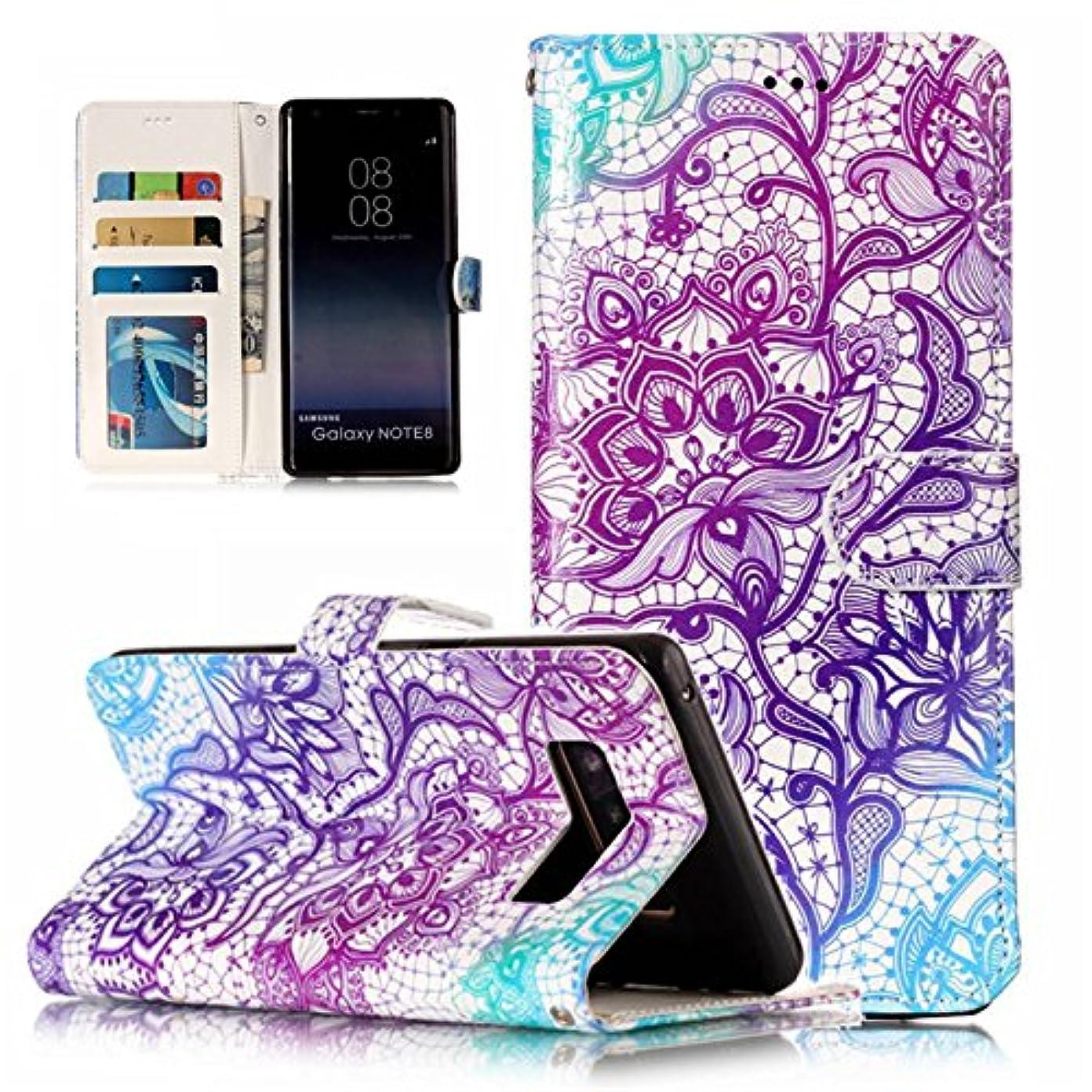 ストレス少なくとも話Galaxy Note 8 ケース, Abtory Colorful PUレザー 財布型 カードポケット マグネット スタンド機能付き ダイヤリー ノート型 耐衝撃 For Samsung Galaxy Note 8(CP11AC2203)
