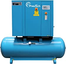 PneuTech 15 HP Rotary Screw Air Compressor, 208 Volt, 3 Phase, 55 CFM @ 125 PSI, Tank Mounted with Dryer