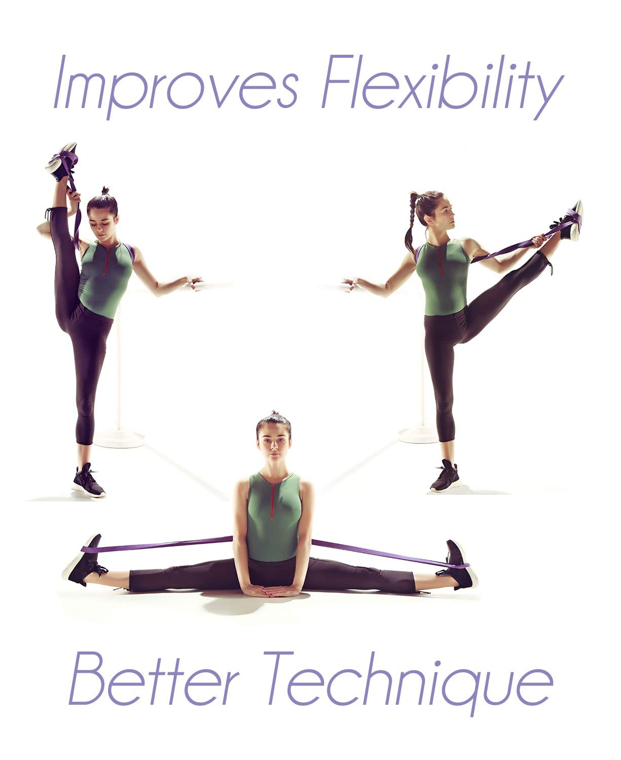 Stretch Bands for Dancers Mobility and Strength Printed Stretches and Stretching E-Guide Ballerinas and Gymnasts Shiny Bag Dance Stretch Bands for Flexibility Travel Bag