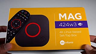 2020 New Infomir MAG424w3 UHD Linux Set-Top Box 4K Support 1GB/8GB with Bonus Universal Luminous Remote That Works with Al...