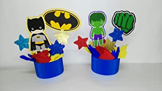 4 SUPER HERO CENTERPIECES, SUPER HERO PARTY DECORATION, DC COMICS CENTERPIECE . MARVEL BIRTHDAY.