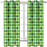 GenericBrands Cortinas Opacas Geometría Verde Cortina Insonorizante para Salon Oficina Cocina Comedor Habitacion Niños 140 cm Ancho x 210 cm Altura