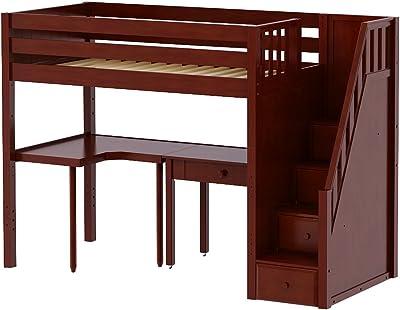Amazon Com Ne Kids School House Stair Loft Bed In Cherry Kitchen