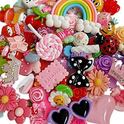 Chenkou Craft 50pcs Lots Mix Assort Easter DIY Flatbacks Resin Flat Back Scrapbooking Slime Beads Supplies for DIY Craft + 1pc Clear Box