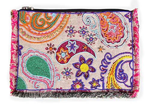 LOLA CASADEMUNT Bolso De Mano De Mujer Clutch Estampado Lentejuelas Con Cadena Cartera Grande Fiesta Bandolera De Hombro Cruzado 33X23X1