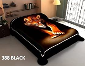 Reversible Animal Print Super Soft Mink Blanket 2 Ply White Tiger blankets Queen Size Bed Blankets (388 Black Tiger+384 Medallion)