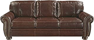 Signature Design by Ashley - Banner Traditional Queen Mattress Faux Leather Sleeper Sofa, Coffee