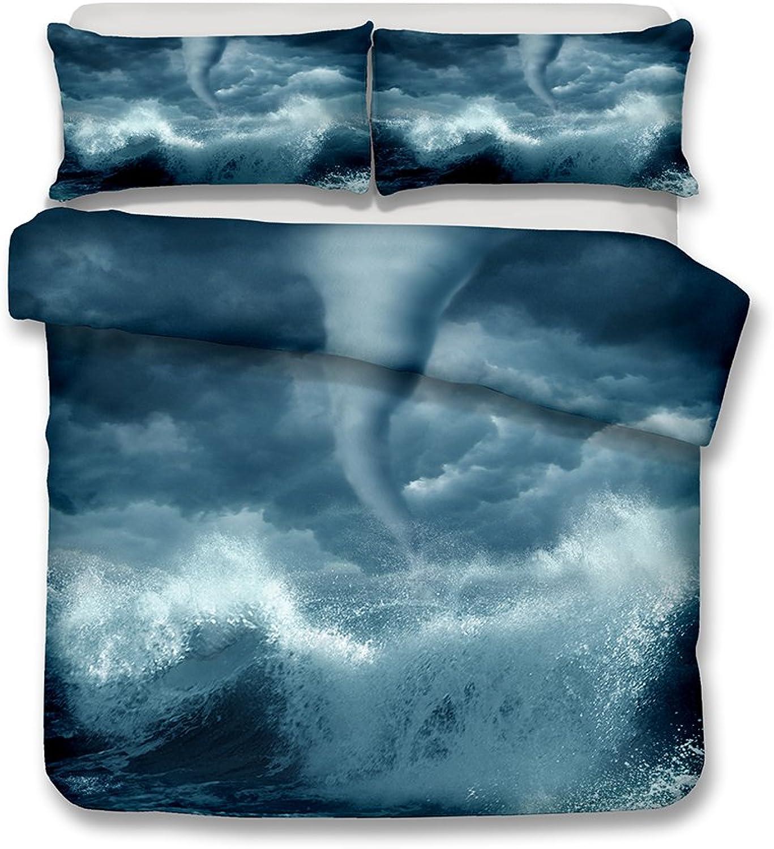 Damara Magnificent View of Nature Tornadoes Lightning tsunamis Volcanic eruptionsseries Bedding Set Print Duvet Cover Set Lifelike Bed Sheet  01 (10, Twin)