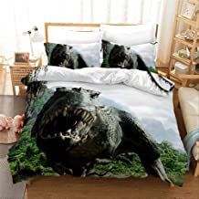 Bed Linen Duvet Cover 3 Piece Set, Dinosaur Cartoon Printed Bedding Sets 3 PCE(No Sheets) Quilt Cover and Pillowcase