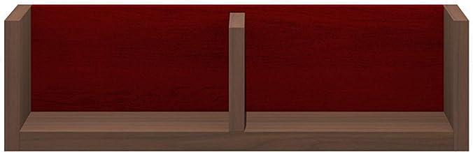 パモウナ(Pamouna) ラック 本体:ウォールナット/バックボード:レッド 横幅:60・奥行17・高さ17.6cm