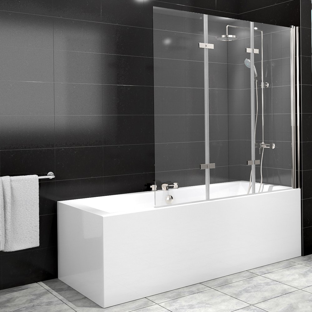 Cabina de ducha bañera de cristal pared plegable 3 palas Nano derecho: Amazon.es: Hogar