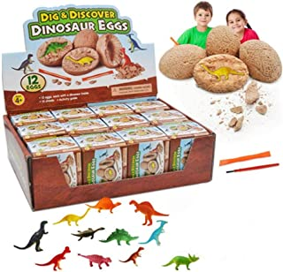 Playmate Dinosaur Eggs 12 Pcs Dig Up Kit, 12 Pcs Dinosaur Eggs-Dig Out 12 Cute Dinosaur Toys, Fun Easter Children Gifts, A...