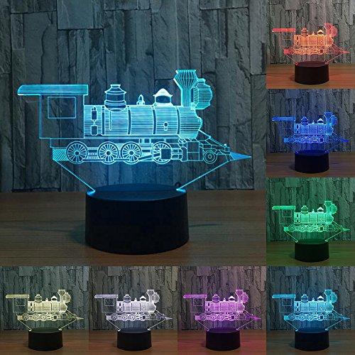 RUMOCOVO® Locomotora Antigua Tren 3D Ilusión Visual Lámpara LED Luz De Noche 7 Colores Táctil Decoración Lámpara Regalo de Navidad Hogar Iluminación