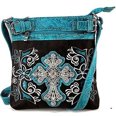 Justin West Concealed Carry Rhinestone Western Tooled Leather Studded Cross Messenger Cross Body Handbag Purse (Black Turquoise)