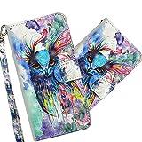 COTDINFOR Motorola Moto E6 Plus Hülle 3D-Effekt Painted cool Schutzhülle Flip Bookcase Handy Tasche Schale mit Magnet Standfunktion Etui für Motorola Moto E6 Plus Watercolor Owl YX.