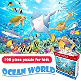 Falaza 100 Piece Jigsaw Puzzles for Kids, Dolphin Bay Underwater Fun Puzzle Game Educational Toy for Boys Girls (15x10 inch)