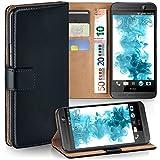 MoEx® Booklet mit Flip Funktion [360 Grad Voll-Schutz] für HTC One E8 | Geldfach & Kartenfach + Stand-Funktion & Magnet-Verschluss, Schwarz