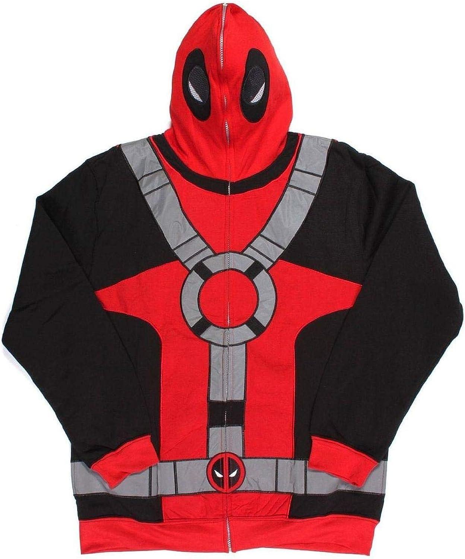 Deadpool Marvel Men's Full Zip Mask Hoodie Medium