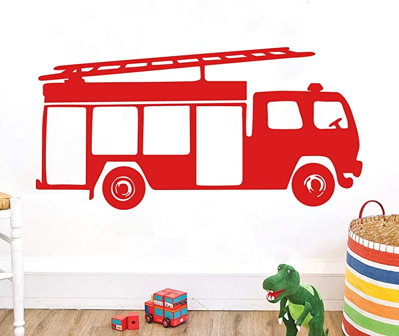 Ufengke Fire Engine Truck Wall Stickers For Kids Removable Peel And Stick Vinyl Wall Art Decals For Bedroom Living Room