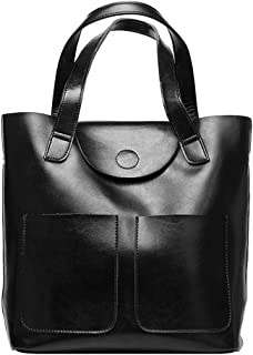 Runhuayou New Fashion Unproblematic Multi-Function Orotund Capacity Shoulder Bag Shoulder Slung Leather Handbag Great for Casual or Many Other Occasions Such (Color : Black)