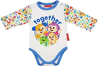 Babybogi Fisher Price Baby Body Unisex 4 Varianten | Größe 56 62 68 | Babybody aus 100% Baumwolle | Wickelbody Langarm Unisex mit Druckknöpfen