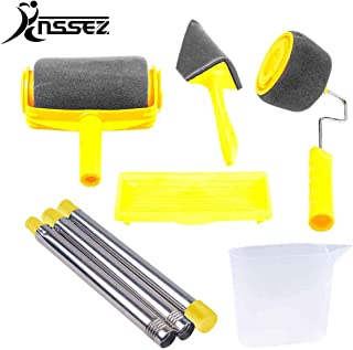 RNSSEZ 6PCS Paint Roller Brush Kit, Paint Roller Set with Extension Poles,Multifunctional Paint Pro Set Painting Brush Decorate for House, School, Office Wall,Ceiling Painting