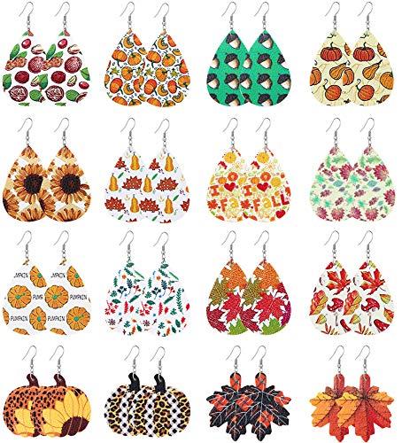 Hanpabum 16Pairs Fall Leather Earrings for Women Teardrop Dangle Earrings Autumn Series Accessory Pumpkin Sunflower Maple Thanksgiving Jewelry