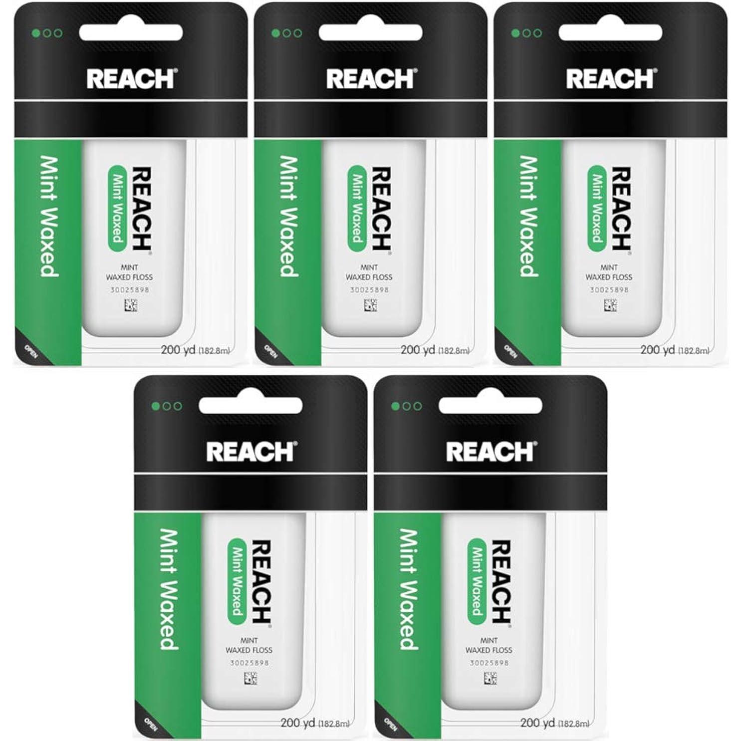 ましい指紋適格Reach Dental Floss, Waxed-Mint-200 yds. (Quantity of 5) by Reach