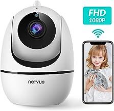 Caméra Surveillance WiFi, Netvue 1080P Caméra Intérieur, Video Surveillance sans Fil, Détection Mouvement Humain, Audio Bidirectionnel, Vision Nocturne, Zoom 8X, pour Alexa/Bébé/Animal-Pan/Tilt 360