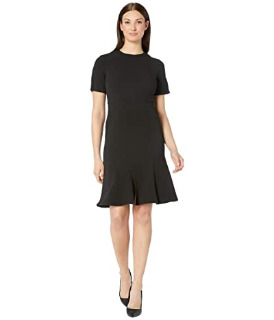 Donna Morgan Short Sleeve Knitted Crepe Fit and Flare Dress (Black) Women