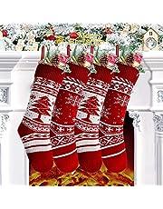 Charlemain Calcetín Navideño, Bolsa de Regalo de Saco de Calcetín de Navidad para la Decoración del Árbol Adorno Navideño, Bolsa de Dulces (4 Pack)