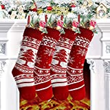 Chaussettes de Noël,4pcs Bas de Noël,Christmas Sac Cadeau avec Flocon de Neige et Sapin de Noël,Décoration Noel Convient pour Arbre,Cheminée,Vitrine et Sac de Bonbons (46 * 15cm)