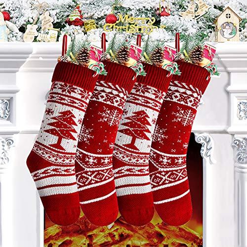Calza di Natale Set 4 Pezzi, Calza Natalizia 46 x 15 cm