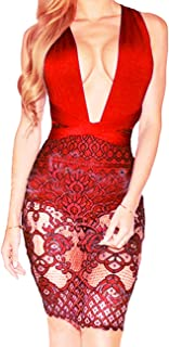 Sexy Lace Dresses for Women Party Club Night Bodycon V Neck Bandage Rompers See Through Mini Skirts